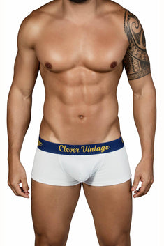 Clever White Old-School Open-Fly Boxer Brief