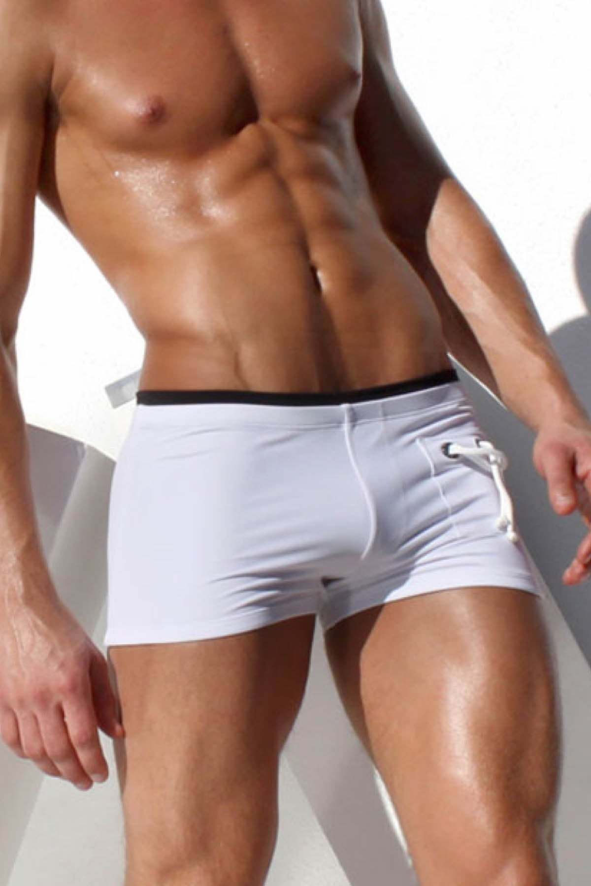 Rufskin White Anchor Trunk Swimwear