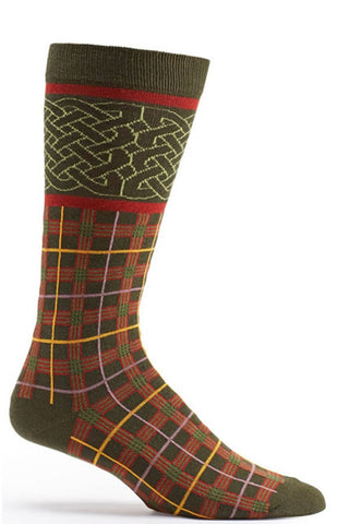 Ozone Green Celtic Plaid Calf Sock