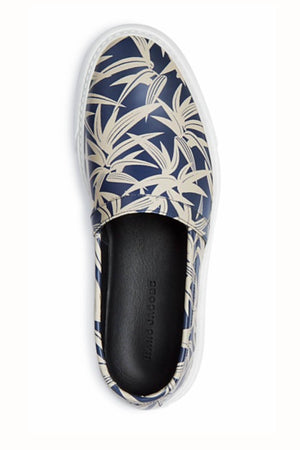 Marc Jacobs Blue/White Leaf-Print Slip-On Sneakers