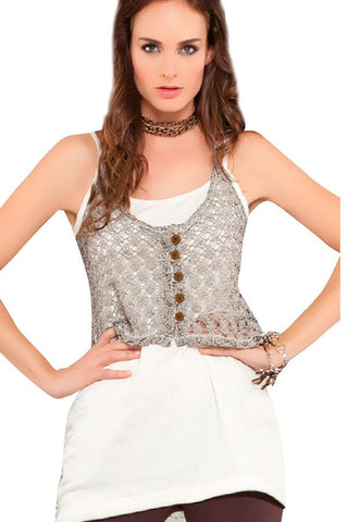 Fiory Beige Layered Lucia Top