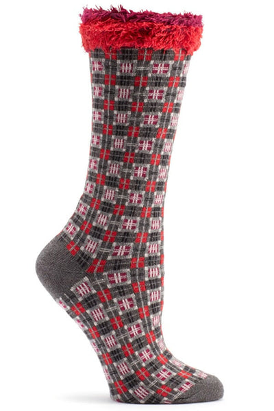 Ozone Grey Tartan Plaid Calf Sock