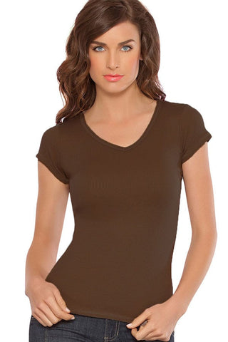 Fiory Brown Ribbed V-Neck Tee