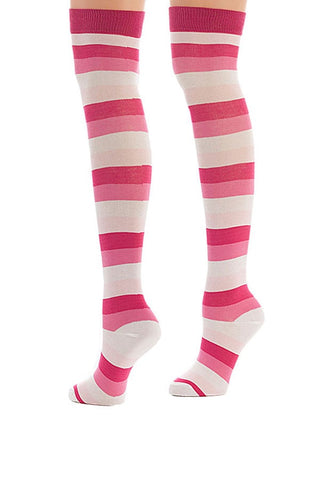 Lucci Pink Stripes Thigh High Sock