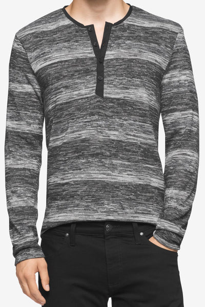 Calvin Klein Black Marled Stripe Henley Sweater - CheapUndies.com