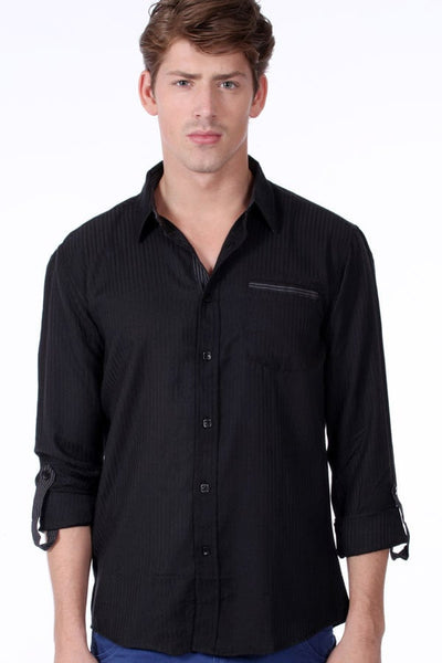 ONE90ONE Black Vertical Striped Button-Up