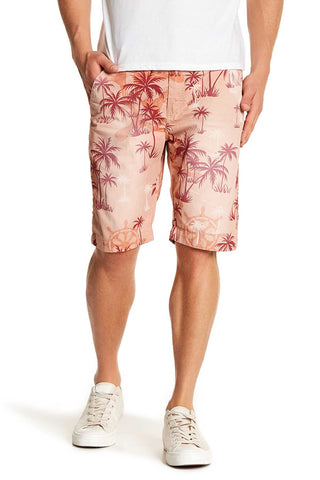 Pop Icon Orange Palms Floral Flat Front Short