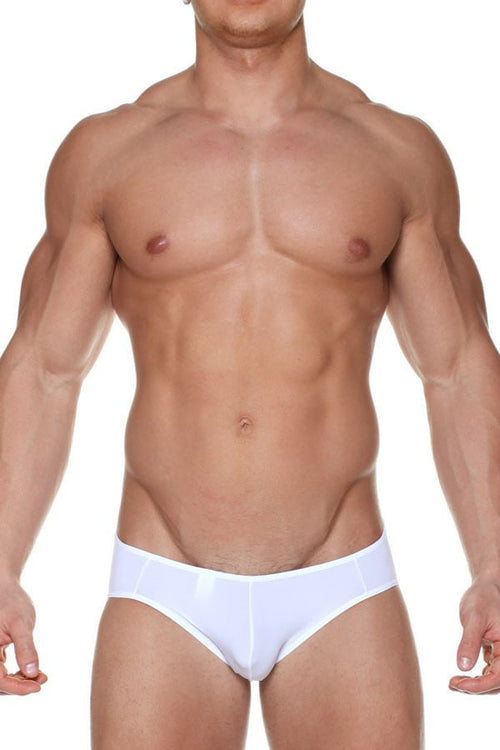 Male Basics White Microfiber Crossed Bikini - CheapUndies.com