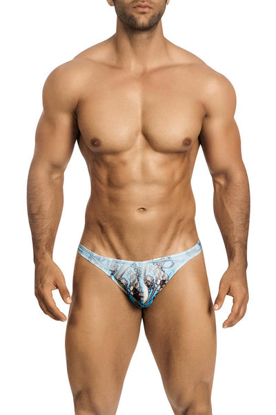 Vuthy Blue Faded Belts Swim Thong