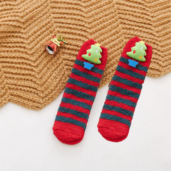 Christmas Cute 3D Snowman Elk Coral Velvet  Warm Socks