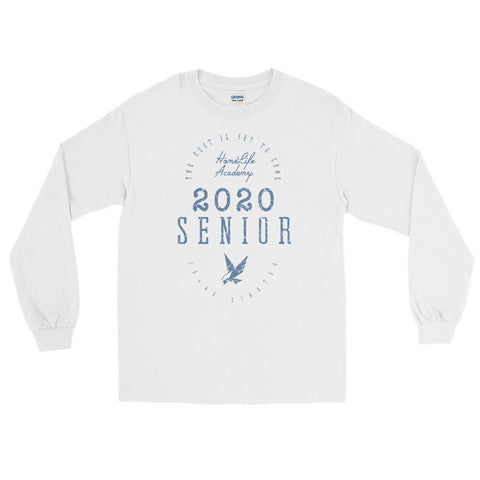 "Unisex Long Sleeve ""The Best is Yet to Come Senior 2020"" White/Blue Graphic Tee"