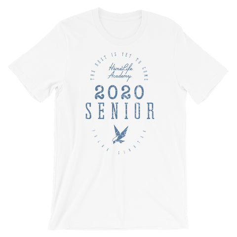 "Unisex ""The Best is Yet to Come Senior 2020"" White/Blue Graphic Tee"