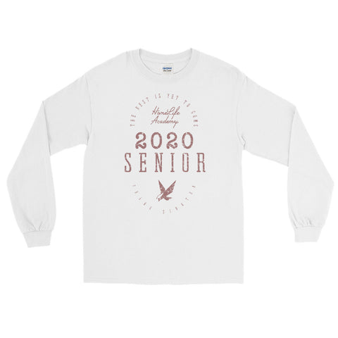 "Unisex Long Sleeve ""The Best is Yet to Come Senior 2020"" White/Mauve Graphic Tee"