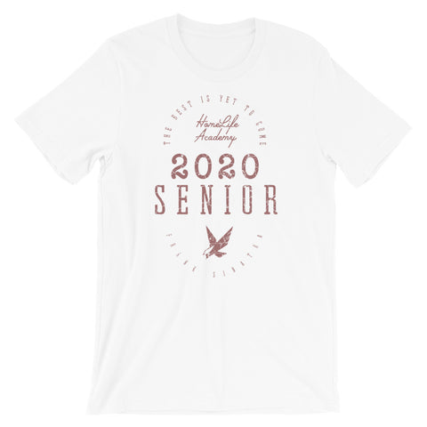 "Unisex ""The Best is Yet to Come Senior 2020"" White/Mauve Graphic Tee"