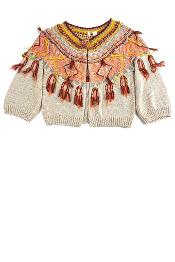 Anthropologie MOTH Tan Cropped Cardigan with Fringe | M