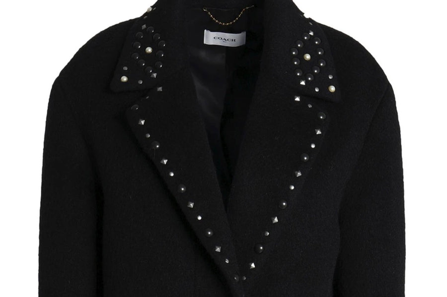 Coach Black Studded Wool Teddy Bear Coat | New | 2