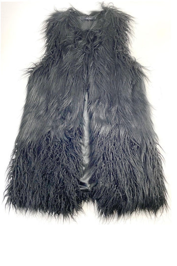 Lauren Vidal Black Faux Fur Vest | L | NEW