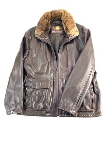 Men's Andrew Marc New York Leather Jacket Removeable Fox Fur Collar | M