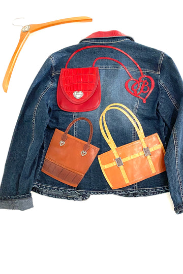 Brighton Limited Edition Leather Handbag Detail Denim Jacket | M
