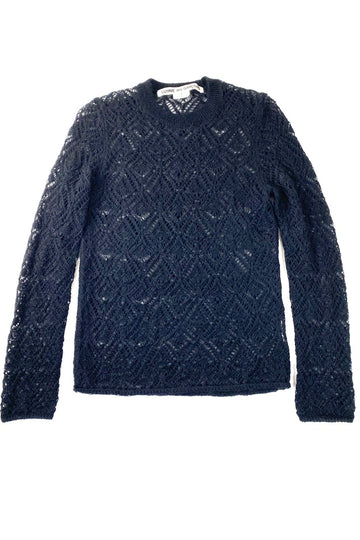 Comme des Garcons Navy Wool Crochet Sweater | L