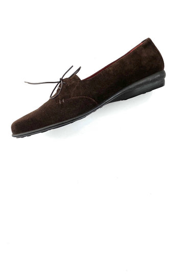 Salvatore Ferragamo Sport Brown Suede Lace Up Flat | 9.5 B