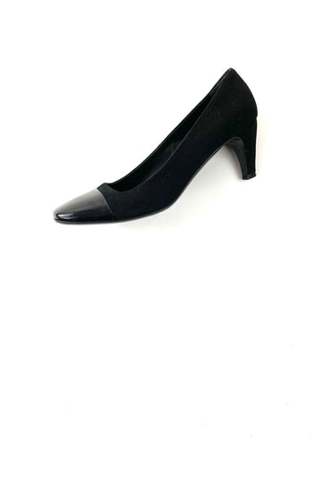 Prada Square Toe Black Suede Pump Patent Leather Cap Toe | 37.5