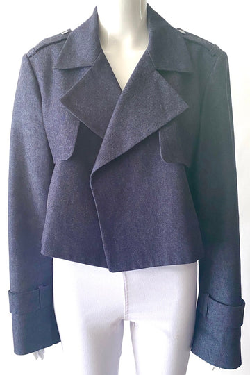 BCBG Max Azria Cropped Denim Trench Blazer | New | M/L
