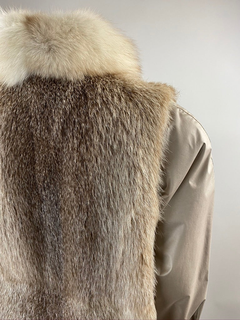 Full Length Fox Fur Vest with Coat | M