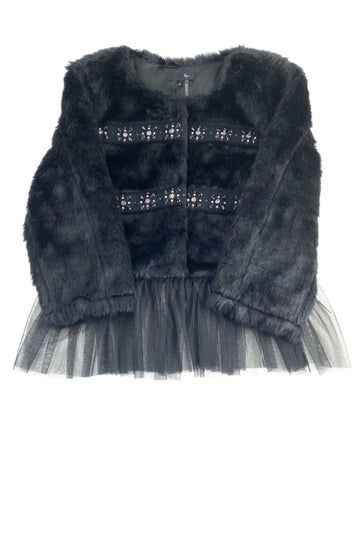 RYU: Black Faux Fur Cropped Jacket with Rhinestones and Tulle | L | NEW