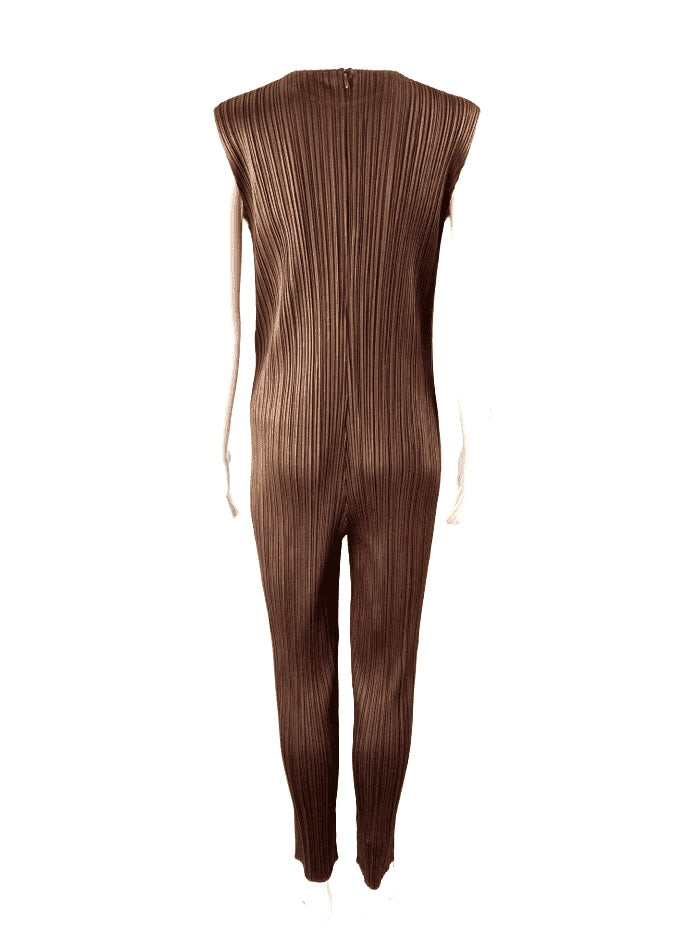 Issey Miyake Pleats Please Micropleat Espresso Pants Jumpsuit | M/L | NEW