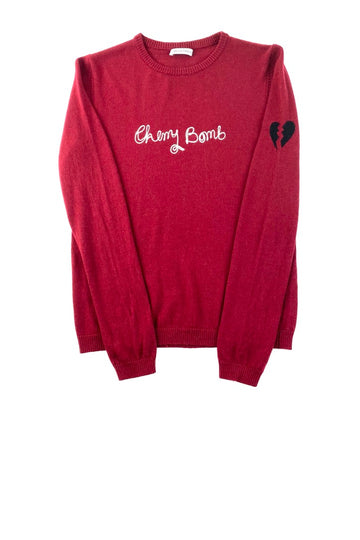 Bella Freud Cherry Bomb Wool Crewneck Sweater | L