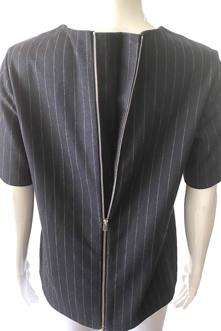 Everlane Wool Cashmere Double Zipper Pinstripe Top | M/L