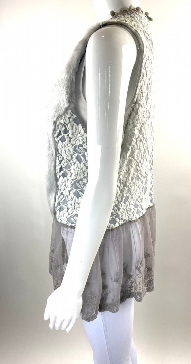 A'reve Grey Lace Tulle Faux Fur Vest | L | NEW