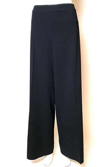 Piazza Siempione Black Wide Leg Wool Lycra Pants | M/L