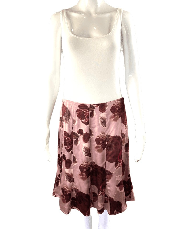 Piazza Sempione Rose Blush Floral Silk Skirt | IT 44