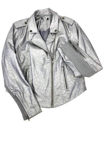 Distressed Chrome Faux Leather Moto Jacket | New | XL