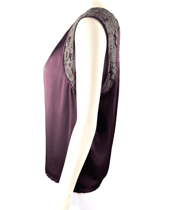 Lida Baday Deep Plum Sleeveless Silk Shell Lace Accent | 8