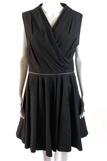 All Saints Zipper Accent Full Skirt Black Dress | M