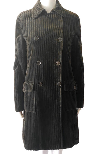 Theory Brown Wide Wale Corduroy Pea Coat | New | S