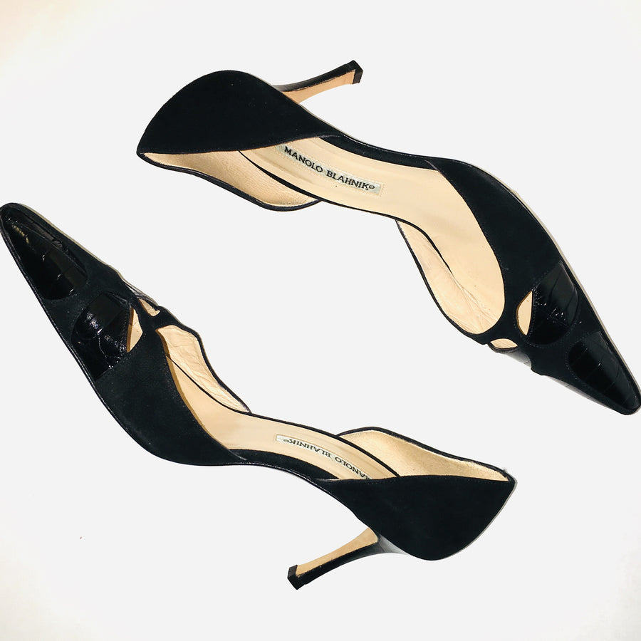 Manolo Blahnik Black Butterflymo Heels | IT 40 US 10