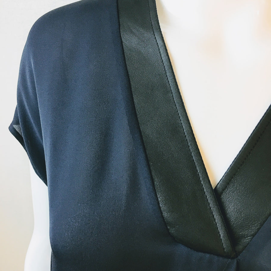 Vince Silk Blouse Leather Trim | S