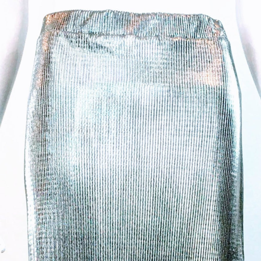 Alembika Silver Micropleat Maxi Pencil Skirt Dress NWT | US 6