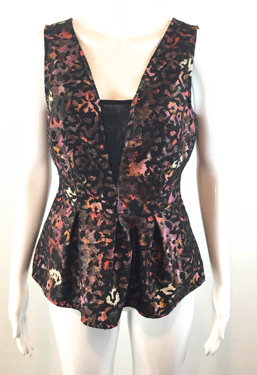 Weston Animal Print Reversible Peblum Waist Corset Top NWT | XS