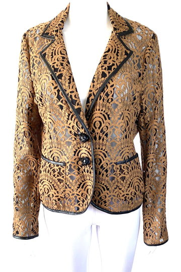 Nanette Lepore Brown Lace Blazer Leather Trim | M/L