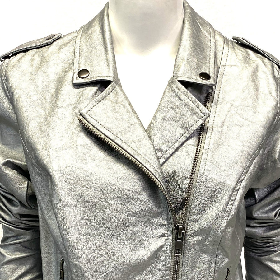 Muted Metallic Chrome Faux Leather Moto Jacket | XL | NEW