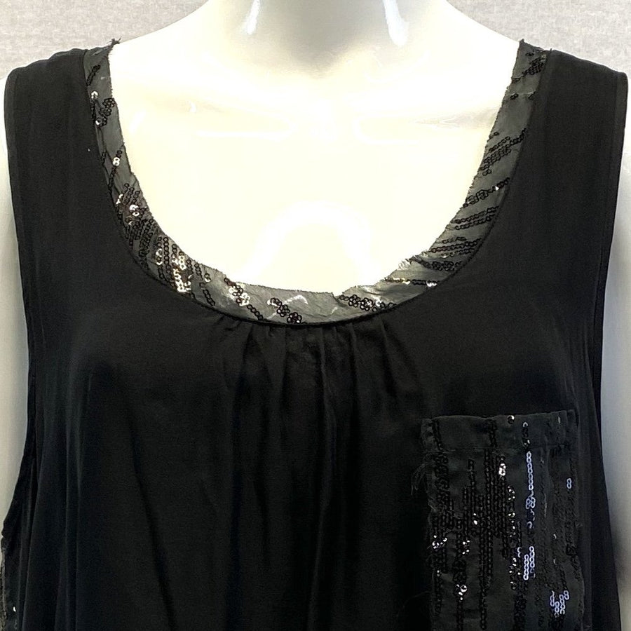 Love and Liberty Sequin Embellished Black Cotton Mini Dress Tunic NWT | XL
