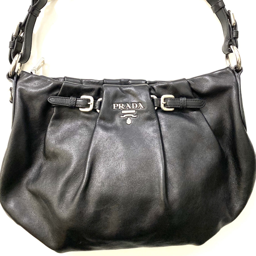 Prada Pleated Black Napa Handbag