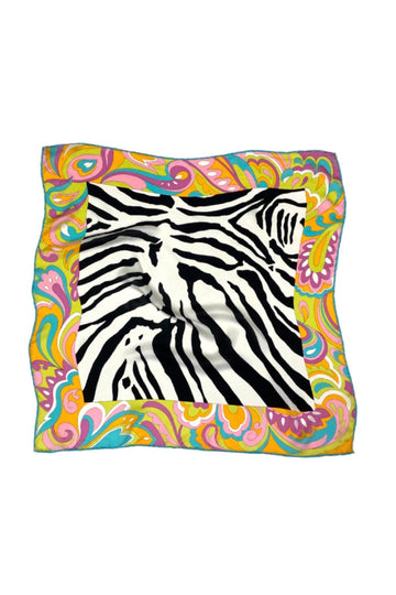 Carlisle Zebra Silk Scarf with Neon Accents