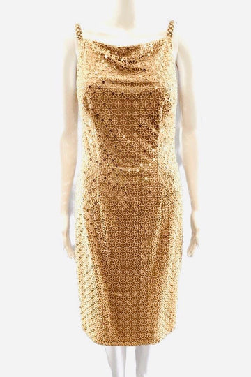 David Meister Nude Lace Overlay Sequin Dress | 6