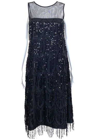 David Meister Black Cascading Sequin Dress | 4